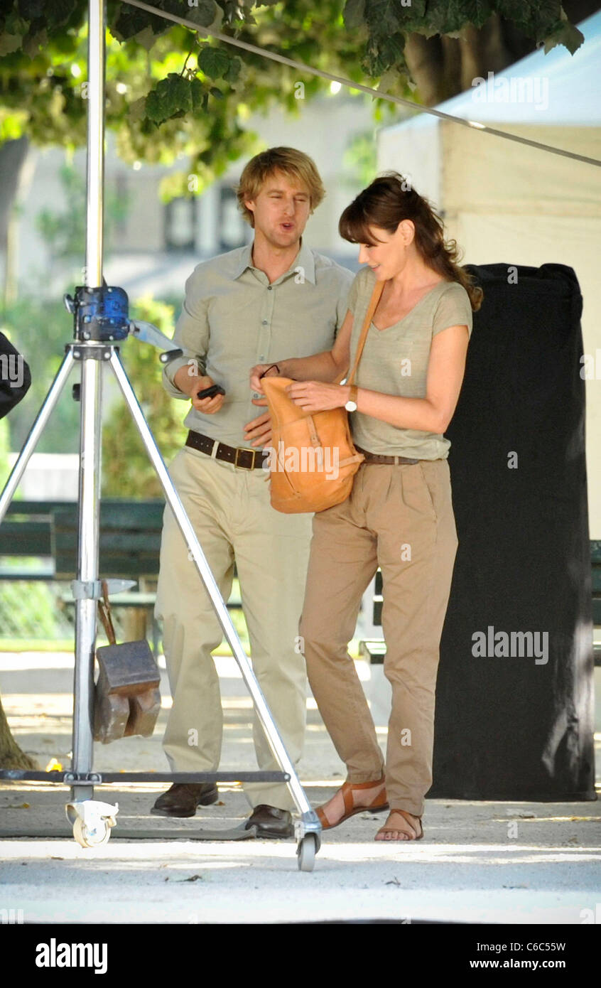 Owen Wilson and Carla Bruni-Sarkozy seen filming on location for