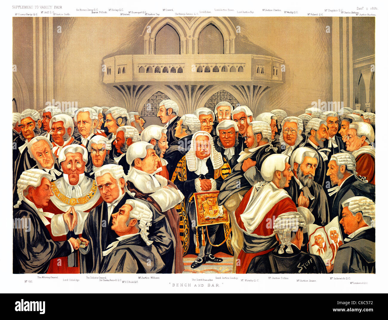 Bench and Bar, 1891 cartoon by Stuff for Vanity Fair with the principal lawyers and judges of England - Stock Image
