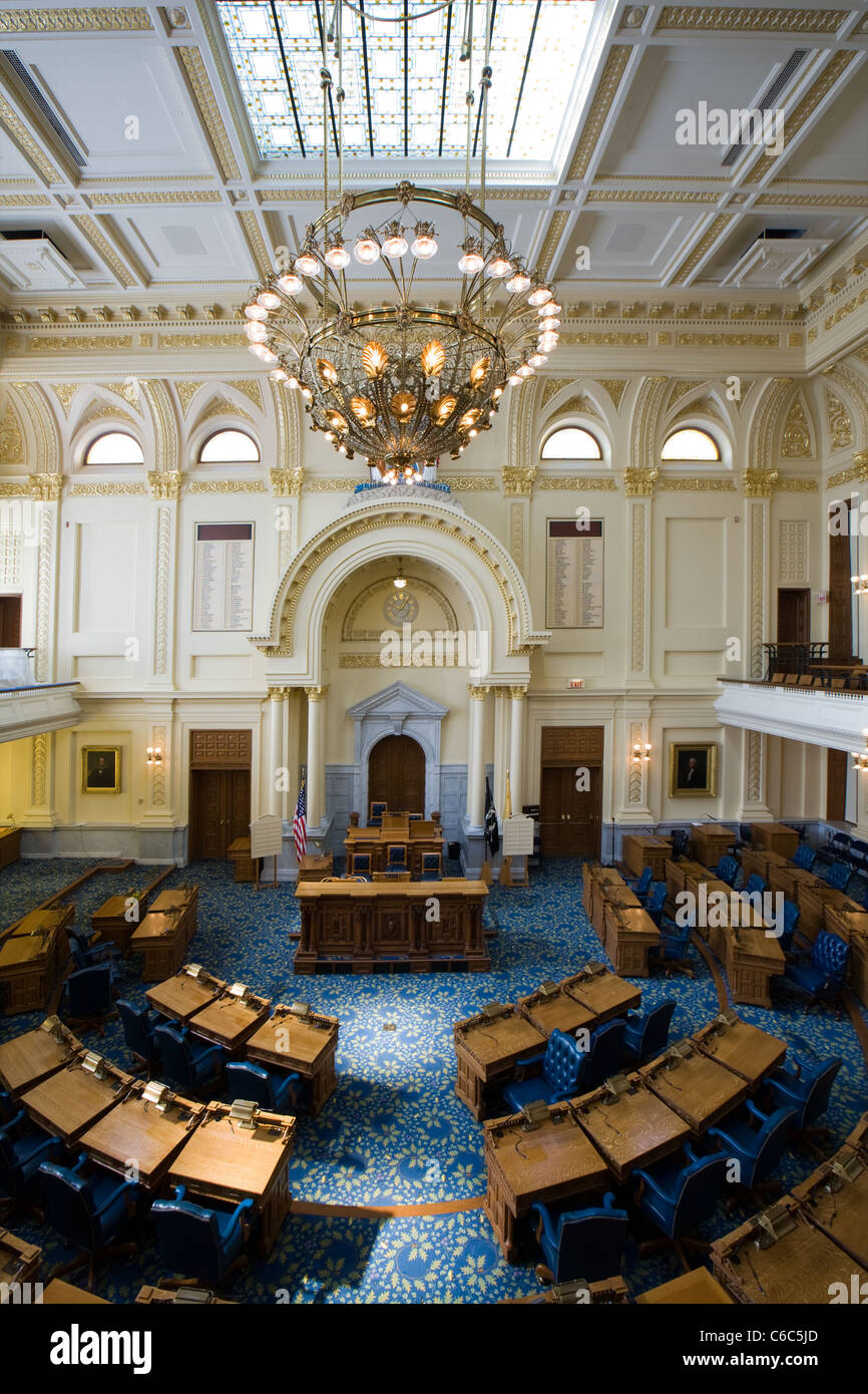 Assembly chamber, New Jersey Statehouse in Trenton - Stock Image