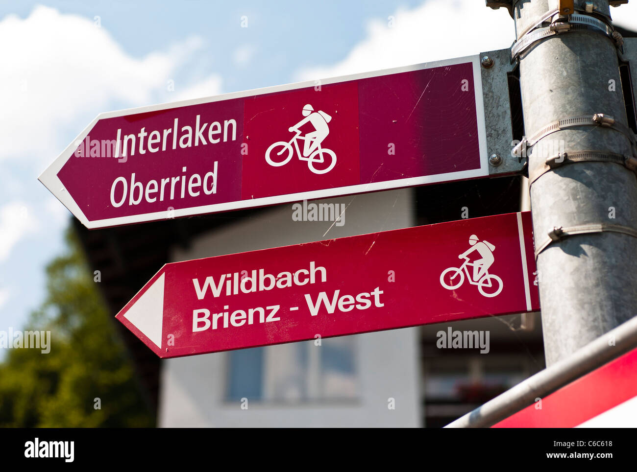 Signs showing cycle-way routes in the Bernese Oberland Switzerland - Stock Image