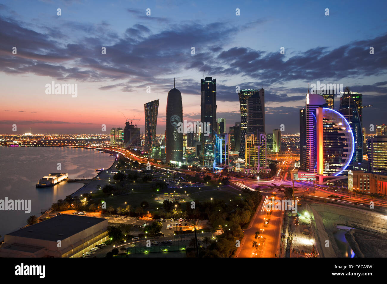 Qatar, Middle East, Arabian Peninsula, Doha, new skyline of the West Bay central financial district of Doha - Stock Image