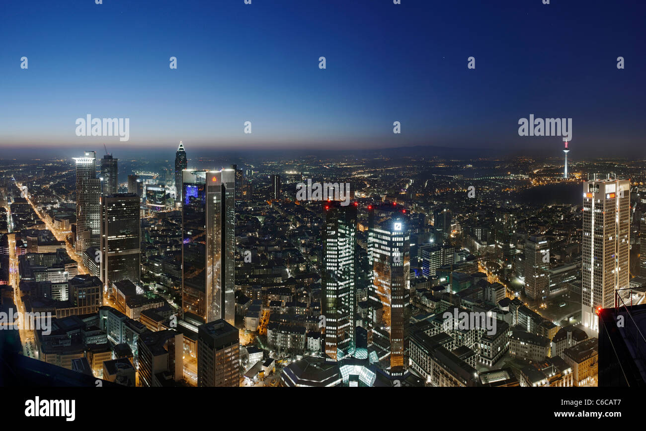 Panorama at dusk, facing west, looking over the financial district, distant view, Main Tower, Frankfurt am Main, - Stock Image