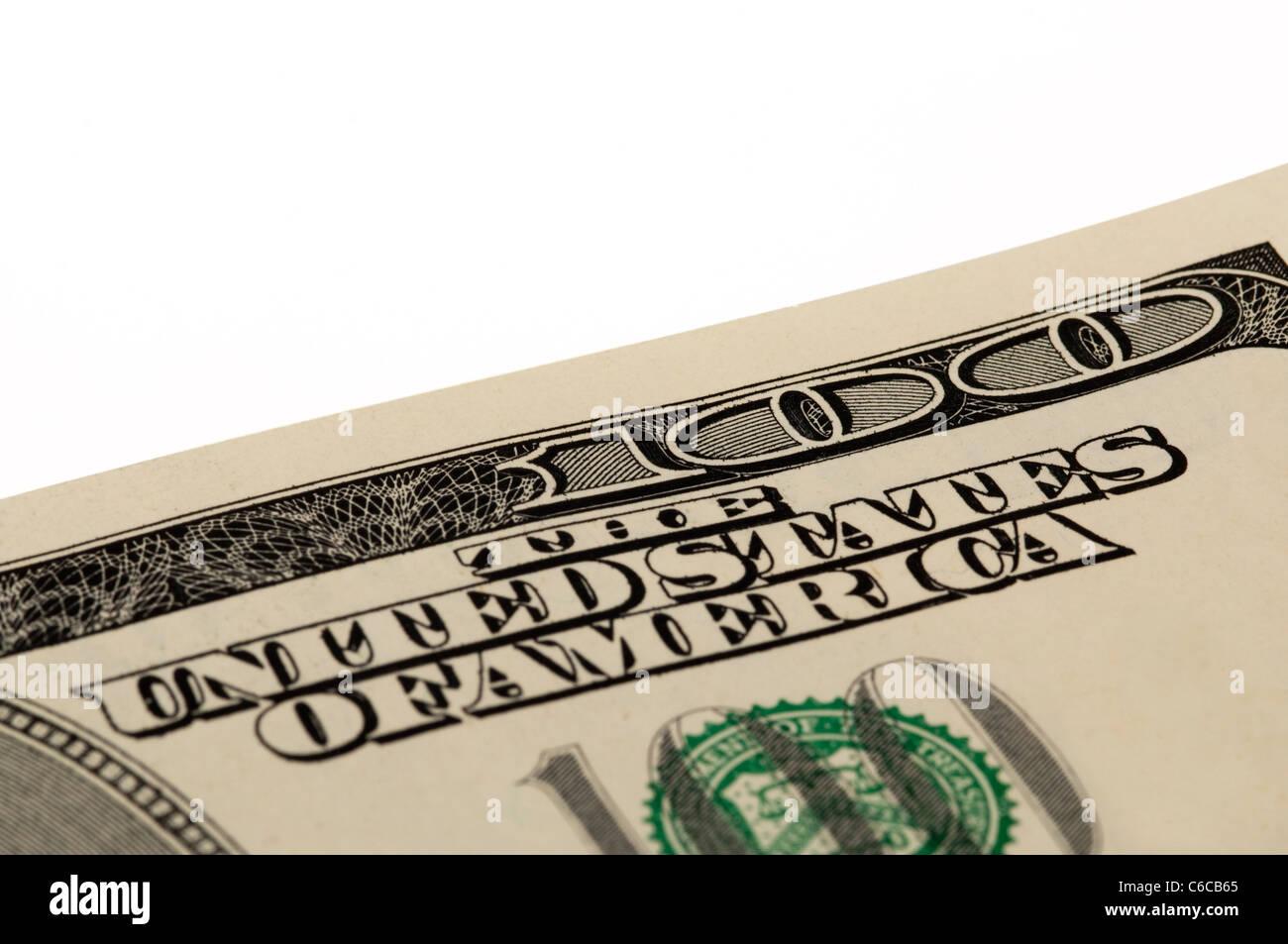 Macro shot of a corner of the US $100 bill - Stock Image