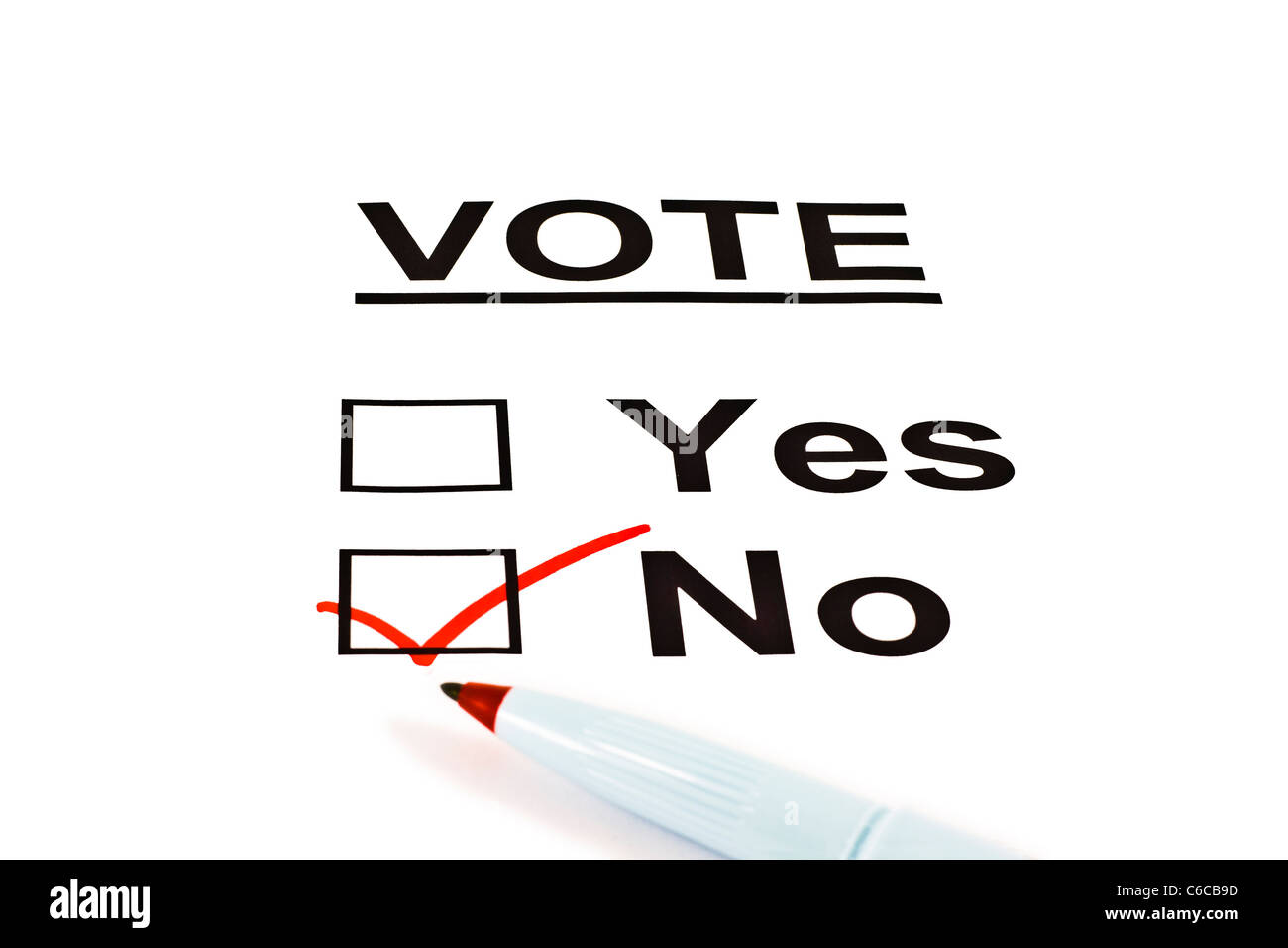 Yes / No Vote Ballot Form With NO Checked Isolated On White - Stock Image
