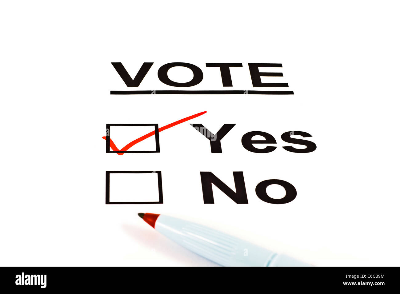 Yes / No Vote Ballot Form With YES Checked Isolated On White - Stock Image