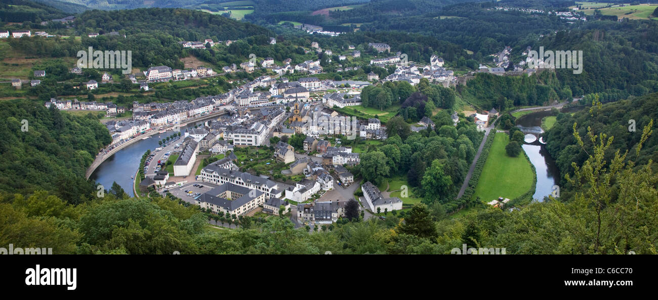 View over the city Bouillon in a meander of the river Semois in the Belgian Ardennes, Belgium - Stock Image