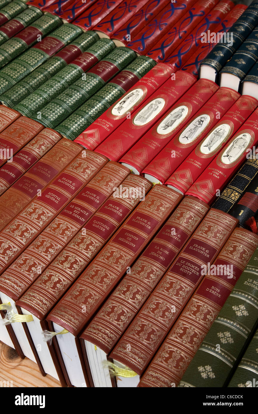 Books in bookshop at the book town Redu, Belgian Ardennes, Luxembourg, Belgium - Stock Image