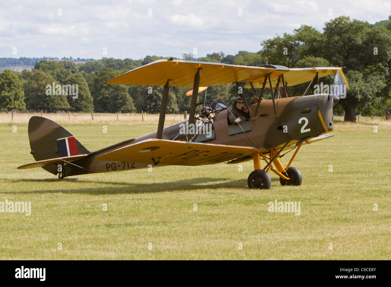 The only surviving De Havilland DH82B Queen Bee, reg G-BLUZ, at Belvoir Castle - Stock Image