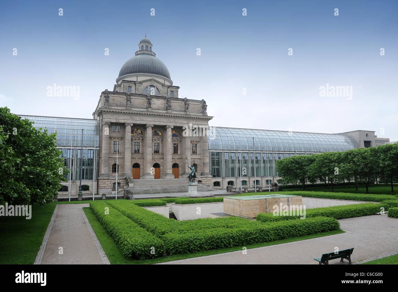 The Westside of the Bavarian State Chancellery (Bayerische Staatskanzlei) Bavaria Germany Munchen Deutschland - Stock Image