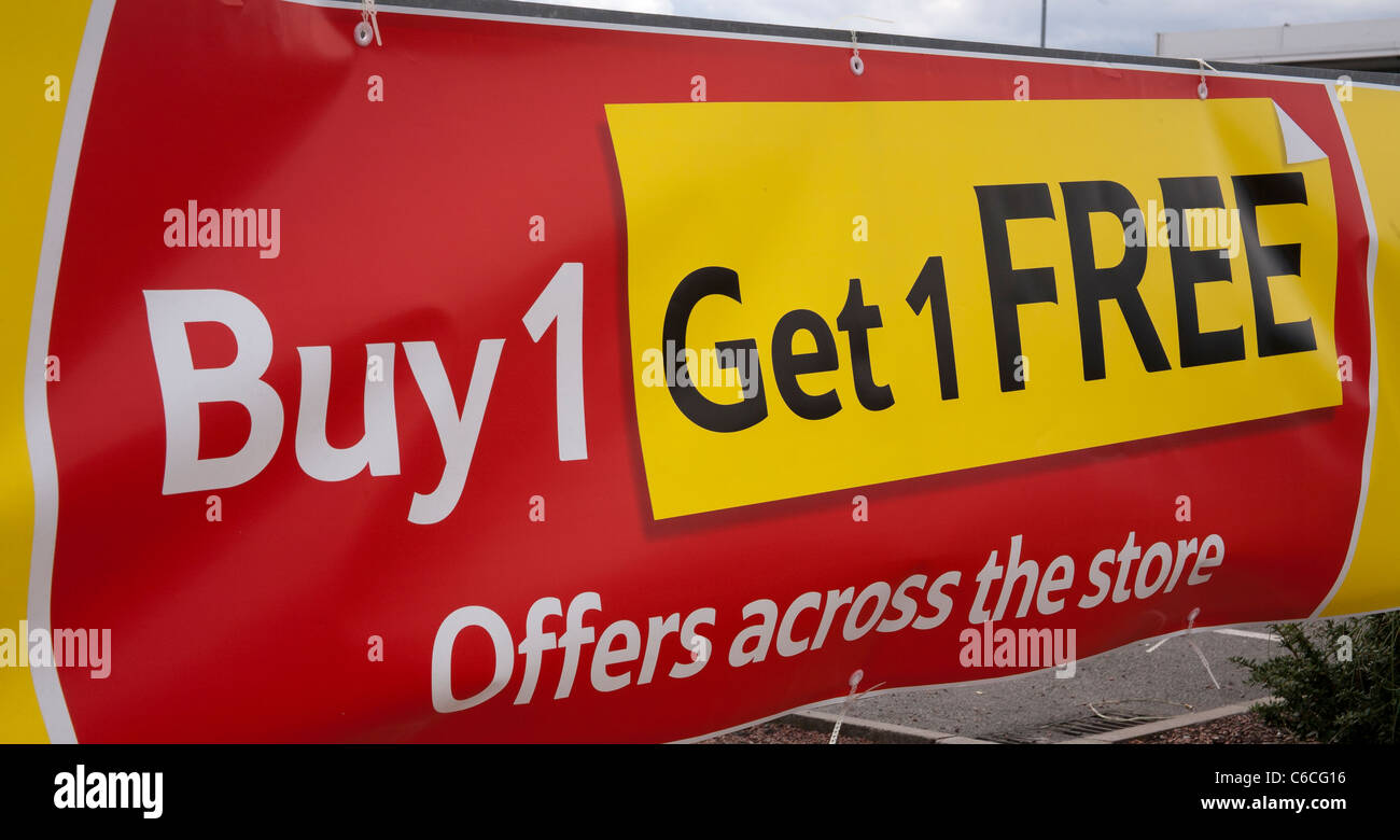 Buy One Get one Free BOGOF Red and Yellow Sales promotion ...