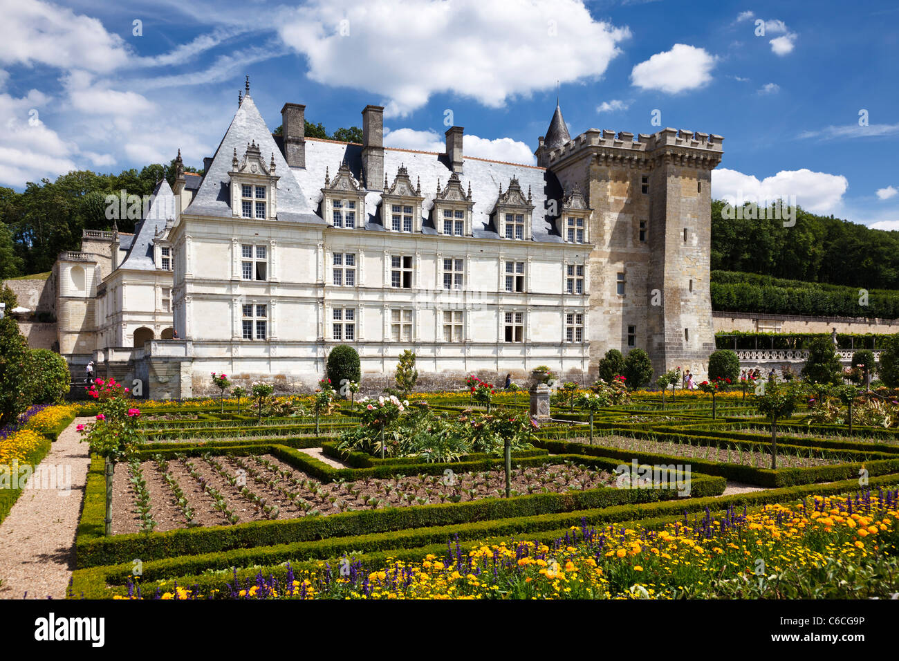 Chateau Villandry castle stately home in Indre et Loire, France, Europe - Stock Image
