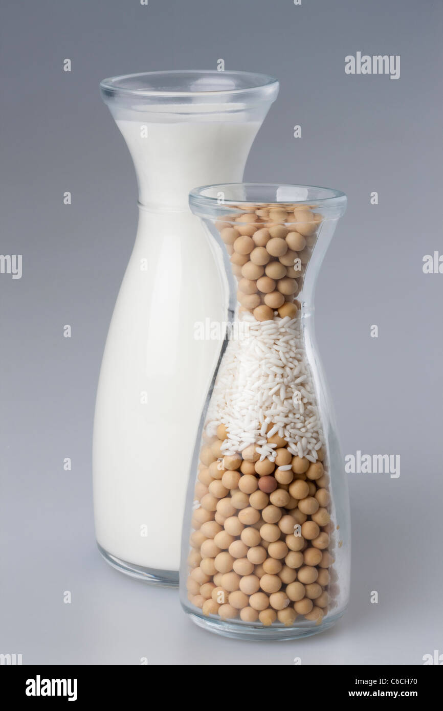 Milk and beans - Stock Image