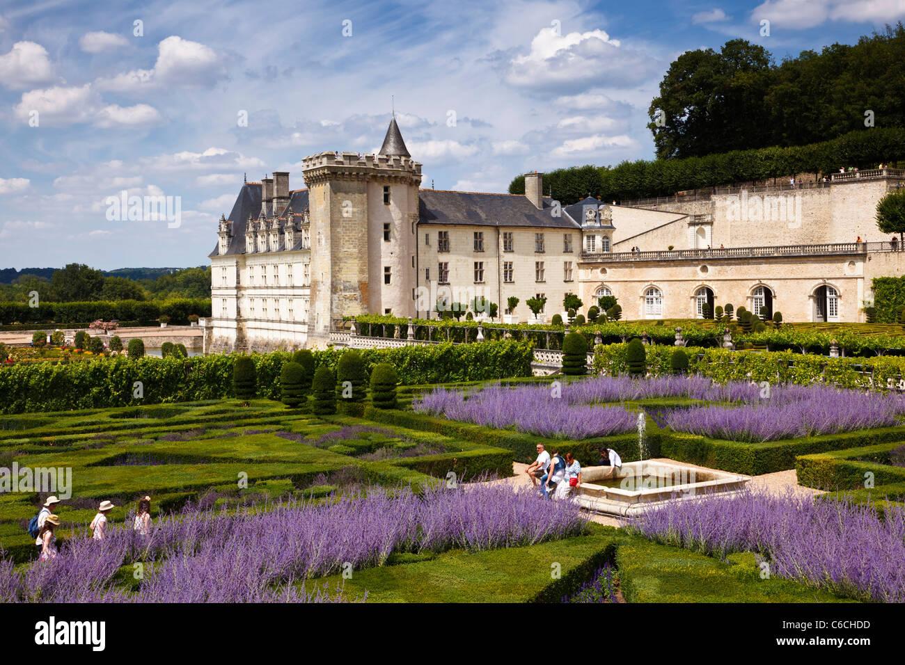 Loire Valley - Chateau de Villandry from the herb garden, Indre et Loire, France, Europe - Stock Image
