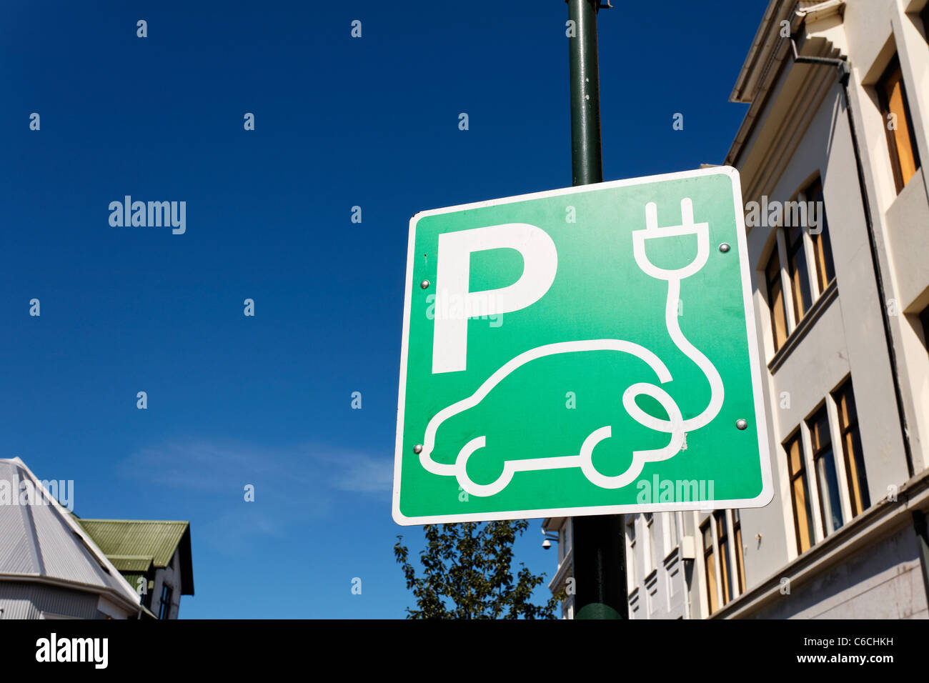 Sign for a charging point for an electric vehicle, Rejkjavik, Iceland Stock Photo