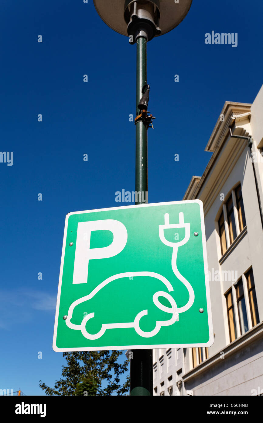 Sign for a charginf point for an electric vehicle, Rejkjavik, Iceland - Stock Image