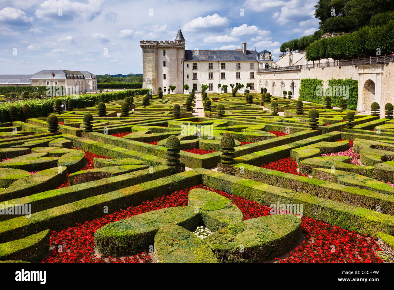 Villandry chateau, Loire Valley - looking across the Love Gardens at this famous Loire chateau, Indre et Loire, - Stock Image