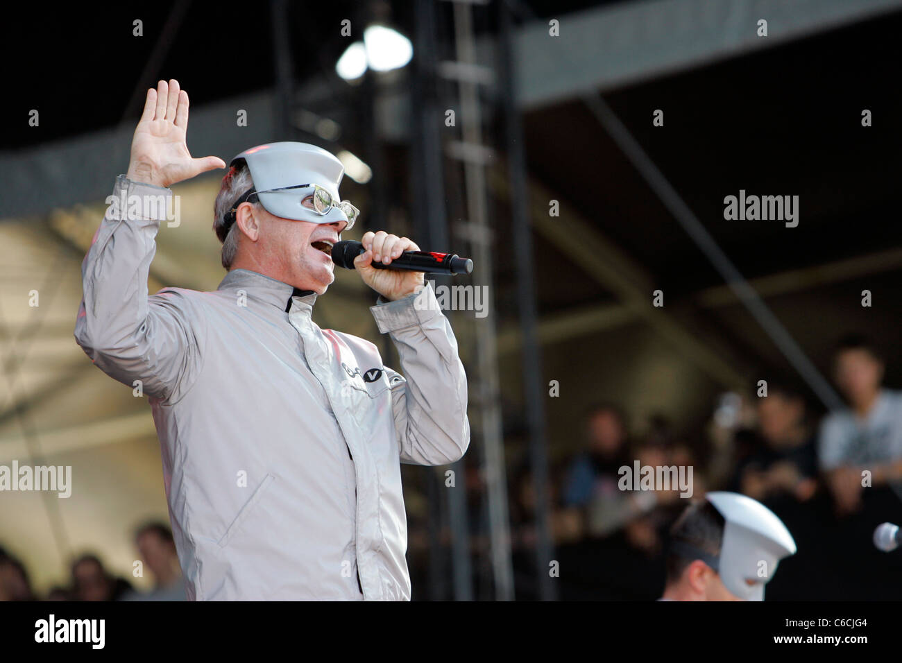 Devo performs on day one of the Lollapalooza music festival Chicago, Illinois - 06.08.10 Ray Garbo - Stock Image