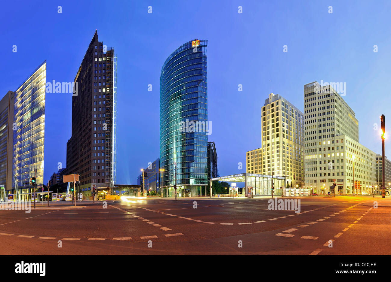 Panorama, Potsdamer Platz square, in the early morning twilight, Mitte district, Berlin, Germany, Europe - Stock Image
