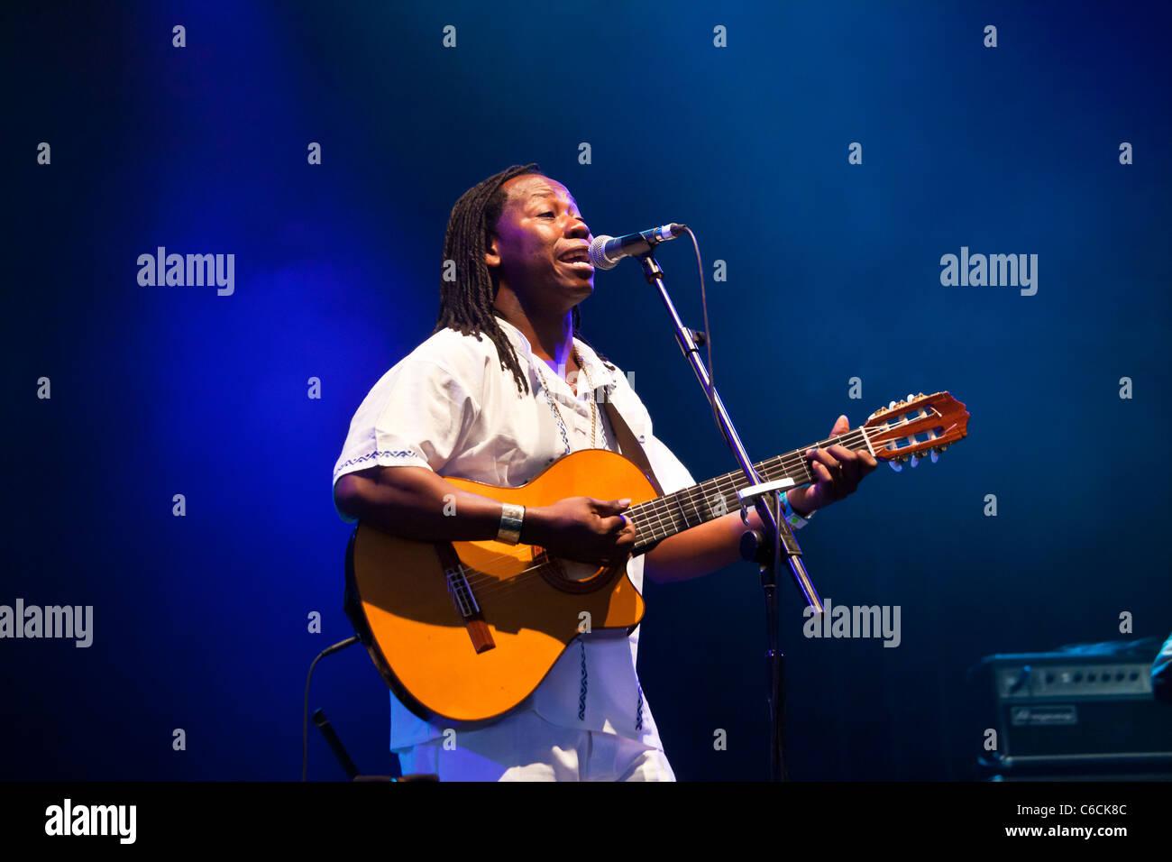 Aurelio Martinez, Honduran singer and guitarist, performing at WOMAD 2011, Charlton Park, Malmesbury, England, UK - Stock Image