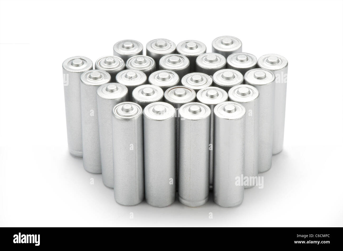 Double A batteries on white - Stock Image