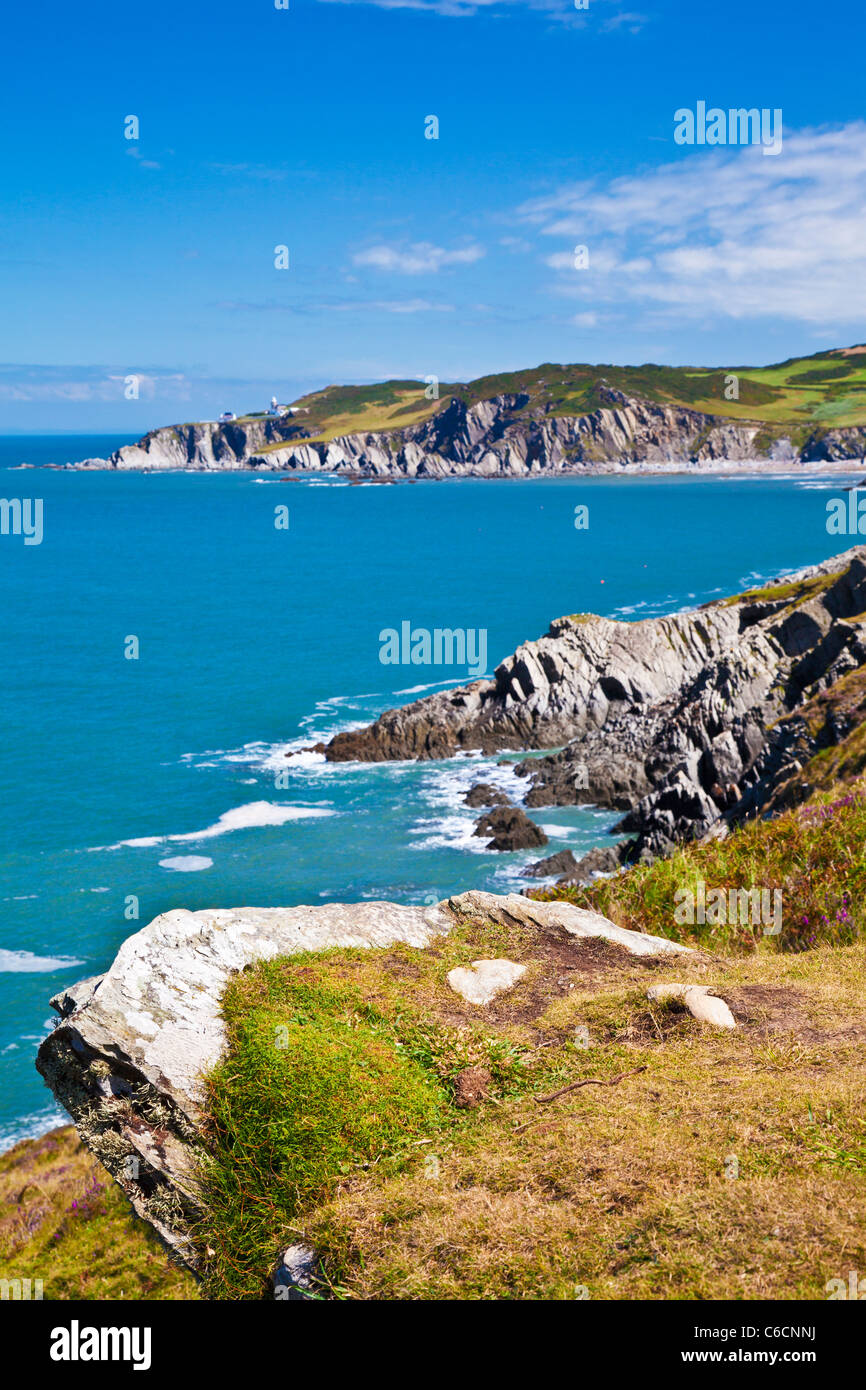 View of the North Devon coastline towards Rockham Bay and Bull Point, near Woolacombe and Morthoe, Devon, England, - Stock Image
