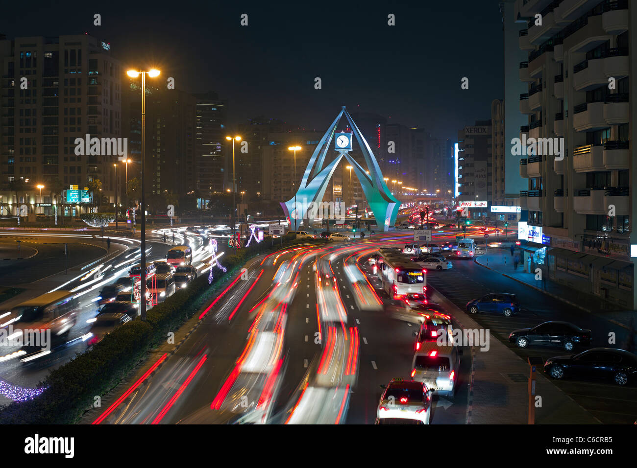 Dubai, UAE, Traffic congestion at the Clock Tower roundabout on Al-Maktoum Road - Stock Image