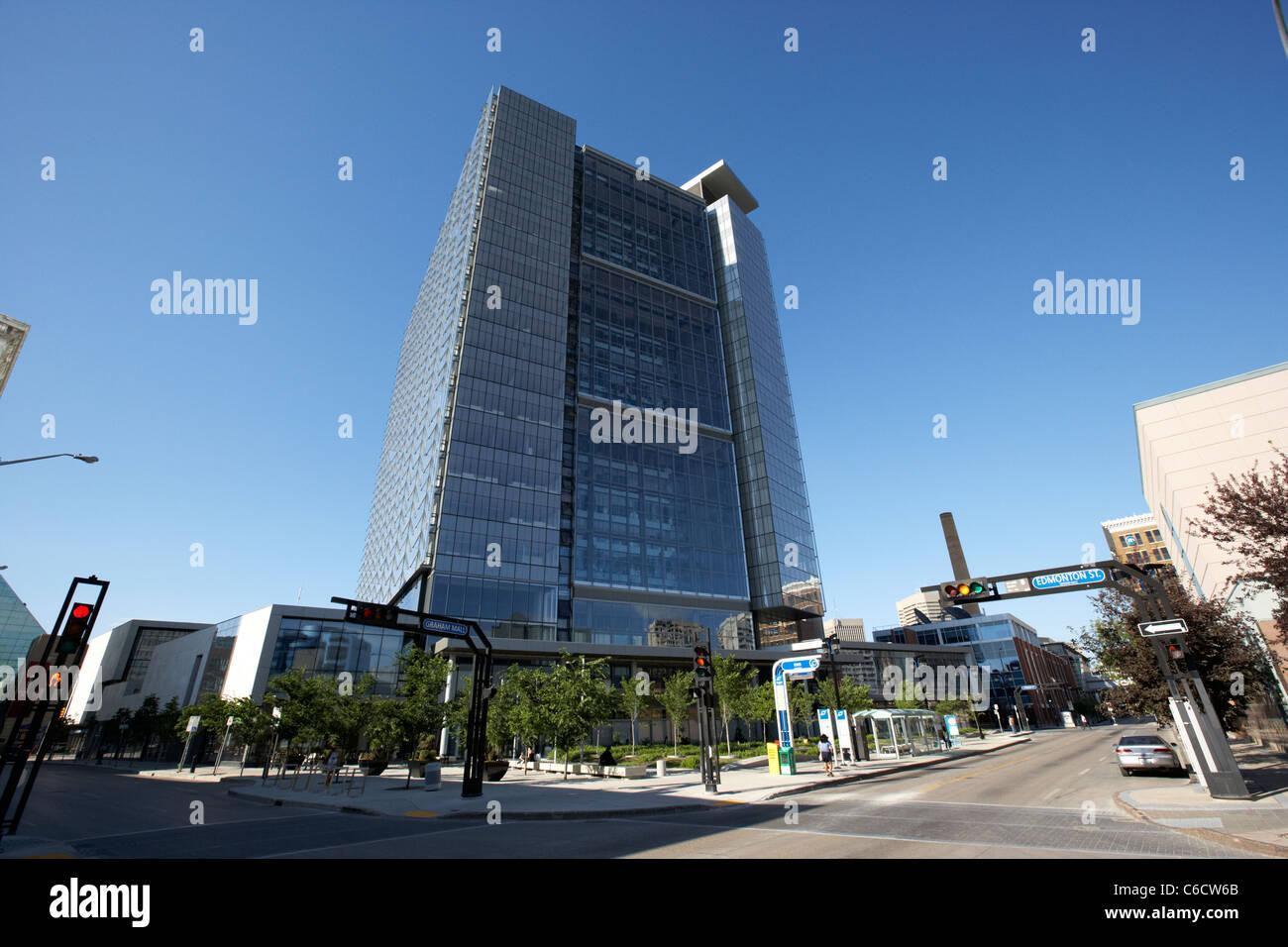 the energy efficient manitoba hydro tower head office skyscraper winnipeg manitoba canada - Stock Image