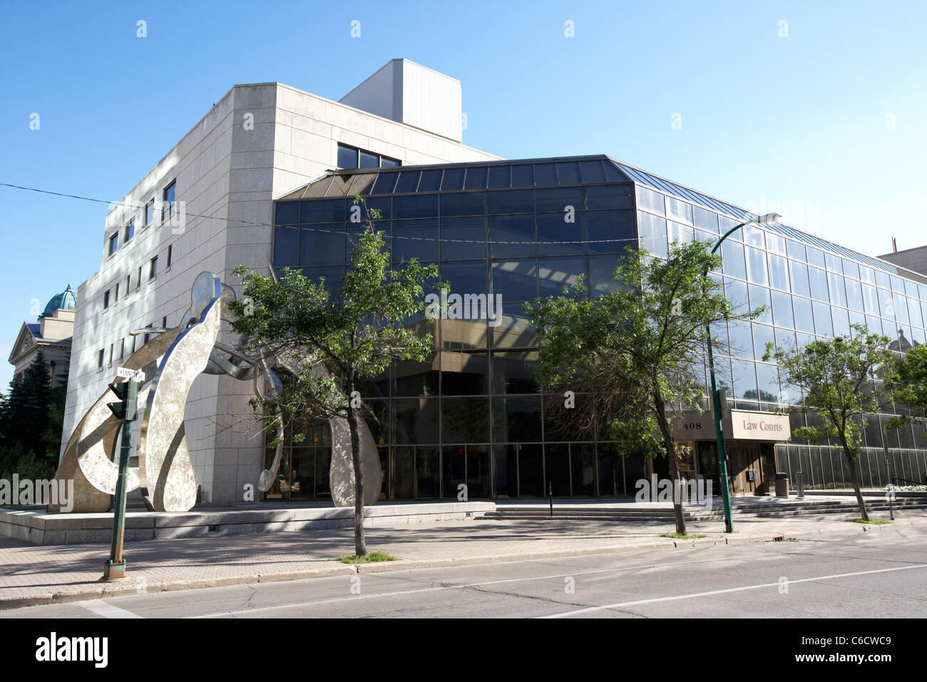 law courts building with gordon reeves justice scupture winnipeg manitoba canada - Stock Image