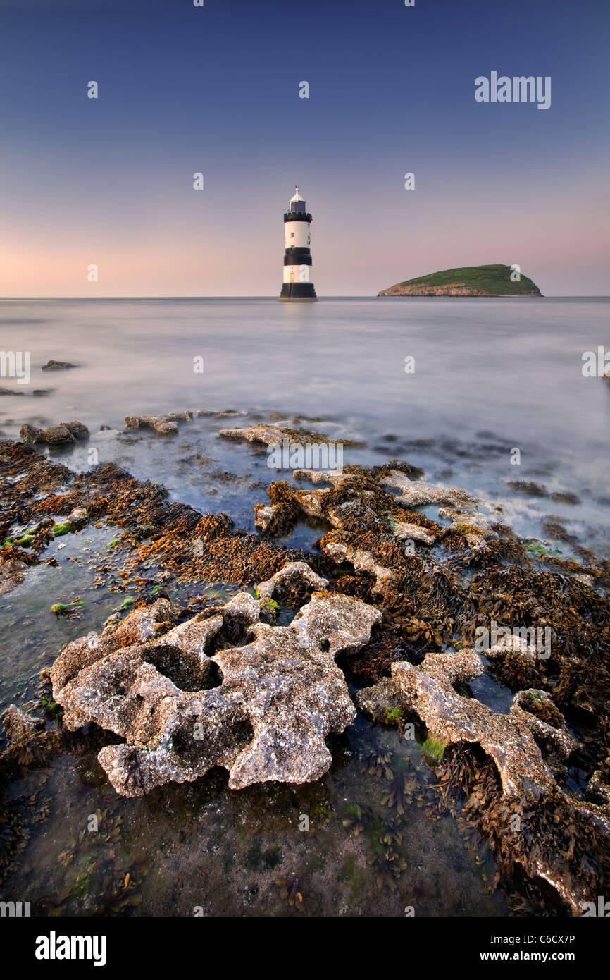 Penmon Point Lighthouse on the isle of Anglesey, Wales. - Stock Image