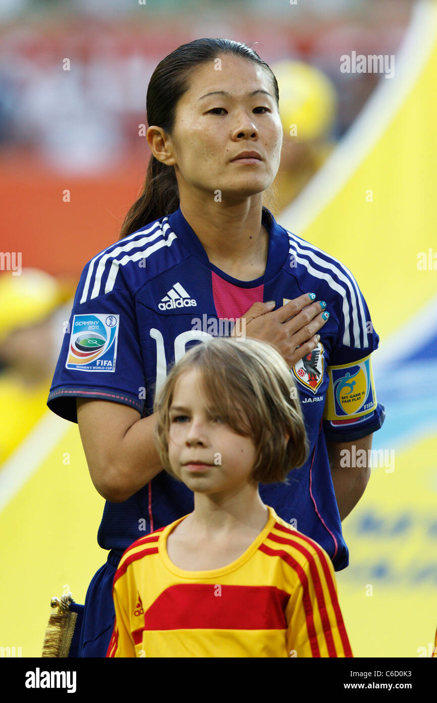 Japan captain Homare Sawa stands during the national anthem prior to a  Women's World Cup quarterfinal soccer - Stock Image