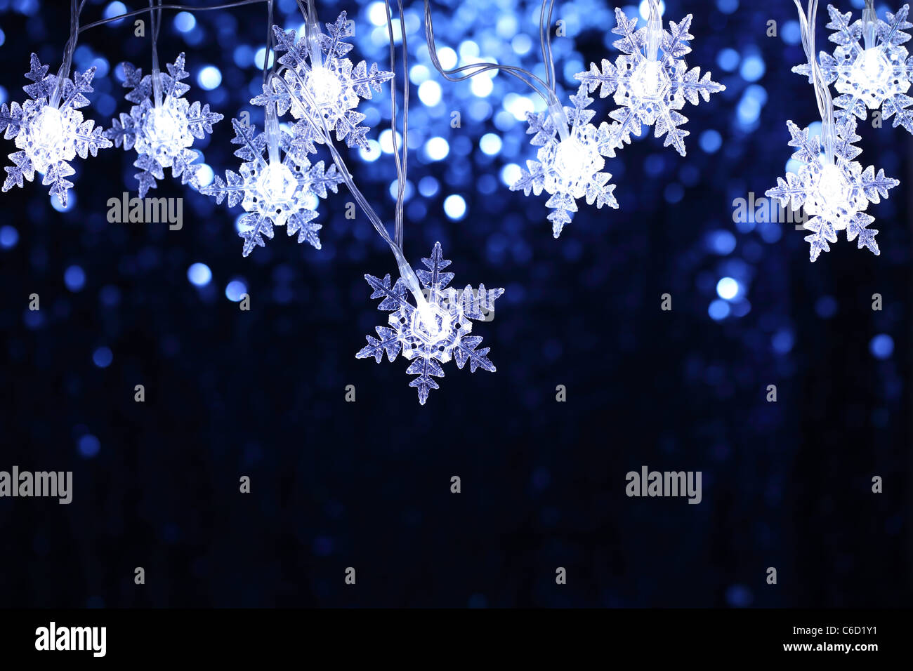 christmas snowflake lights with copyspace stock image