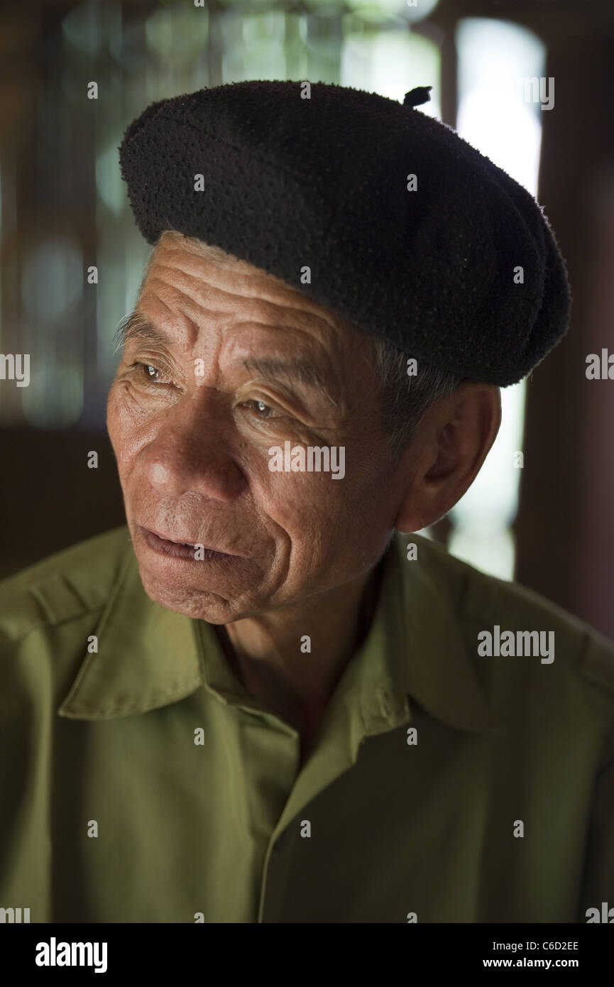 Ngan Van May who is the elder statesman of a remote village in North West Vietnam. His brother was killed in the - Stock Image