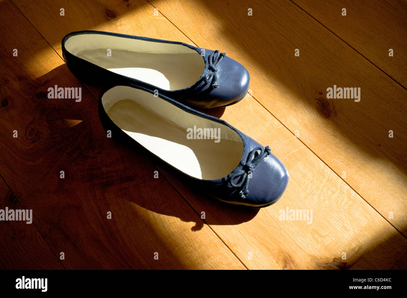 Navy ballet style shoes / pumps - in the spotlight on wooden boards / stage. - Stock Image