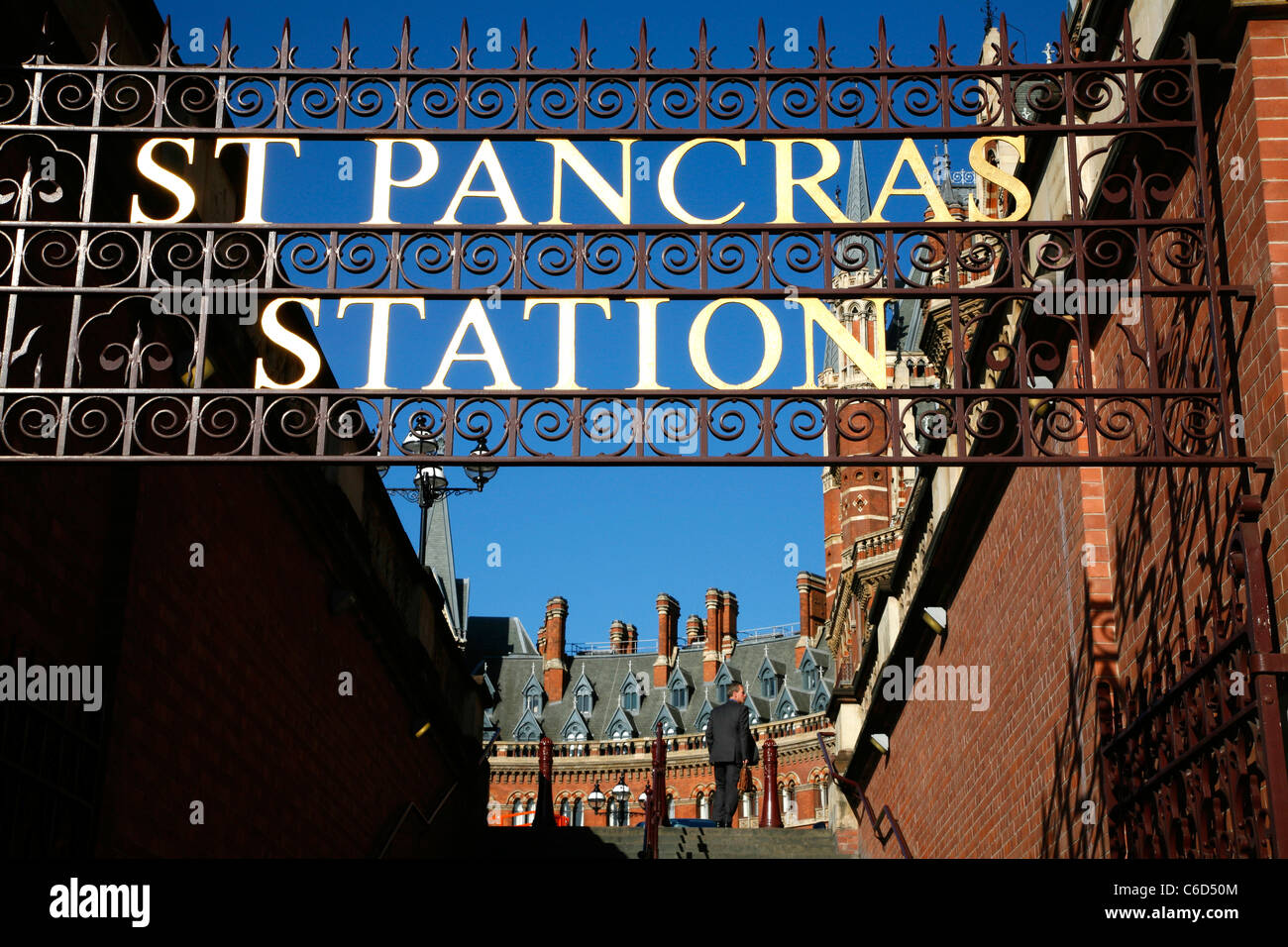Old entrance to St Pancras Station (and St Pancras Renaissance Hotel), St Pancras, London, UK - Stock Image