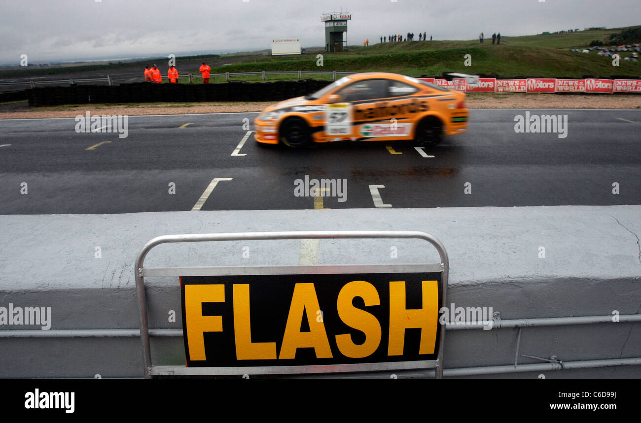British Touring Car racing driver, Gordon Shedden, nicknamed 'Flash' at Knockhill Racing Circuit, Scotland - Stock Image