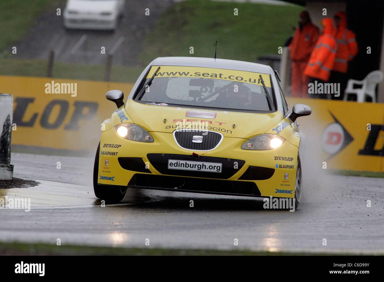 Jason Plato, British Touring Car racing driver at Knockhill Racing Circuit, Scotland - Stock Image