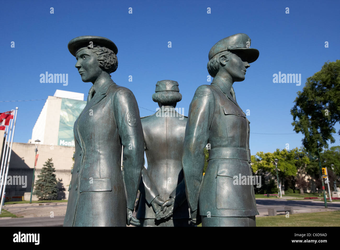 womens tri service war memorial for canadian ww2 servicewomen memorial boulevard winnipeg manitoba canada - Stock Image