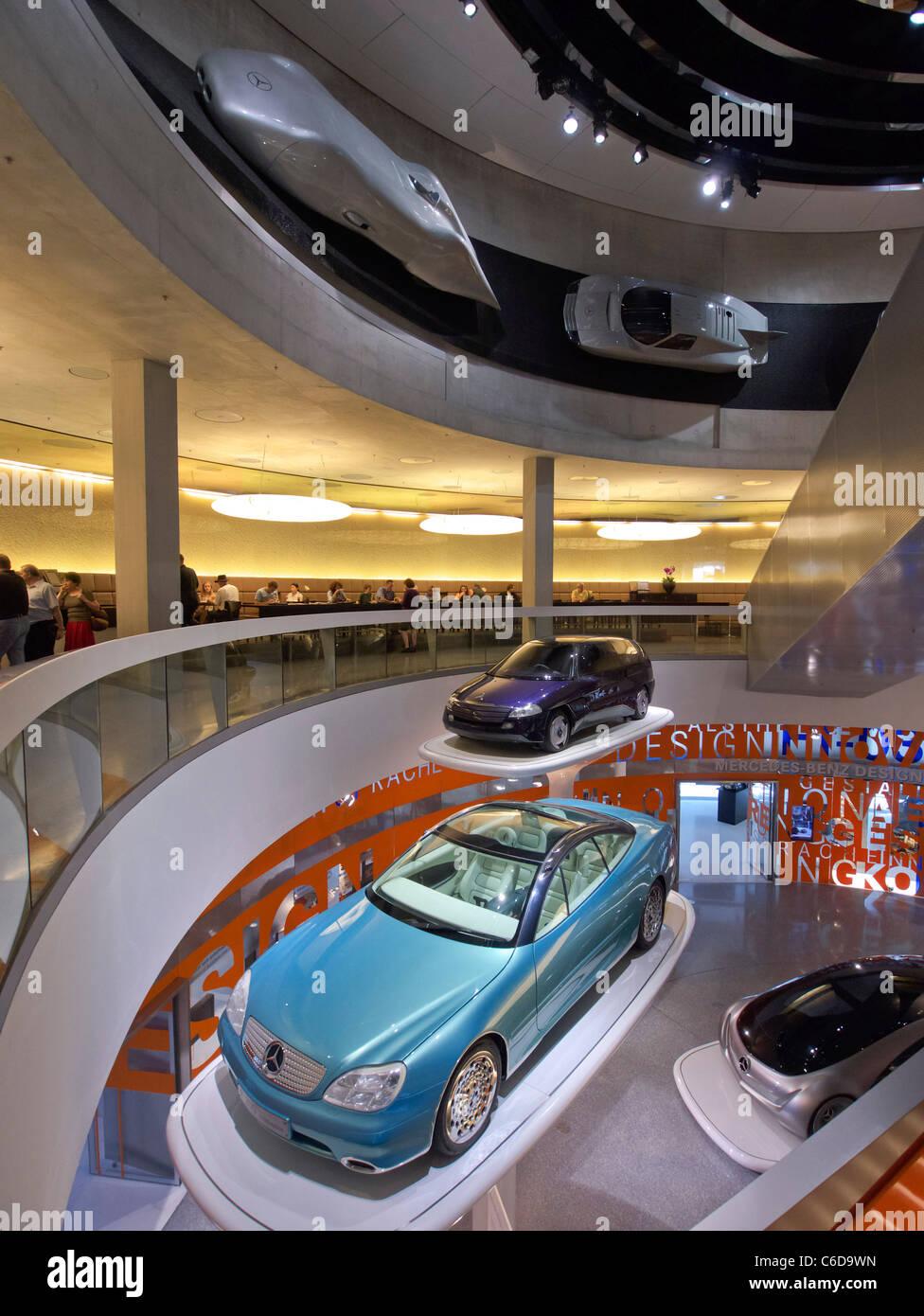 Mercedes Benz Museum in Stuttgart Germany - Stock Image