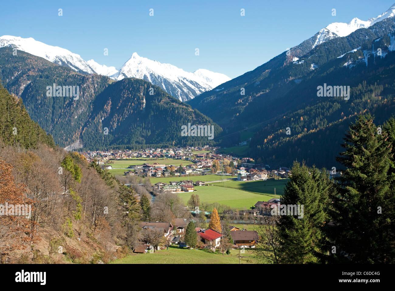 Mayrhofen, beliebter Ferienort und Marktgemeinde im Zillertal, Mayrhofen, famous and popular holiday area - Stock Image