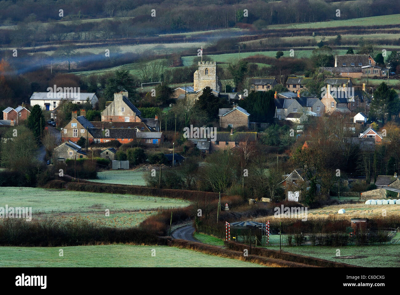 The small rural village of Toller Porcorum with a touch of frost UK Stock Photo