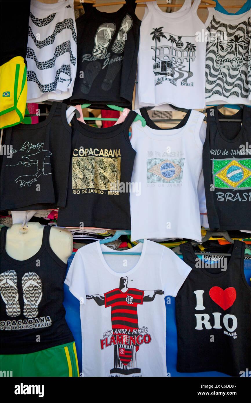 Souvenir Tee shirts, Rio De Janeiro, Brazil - Stock Image