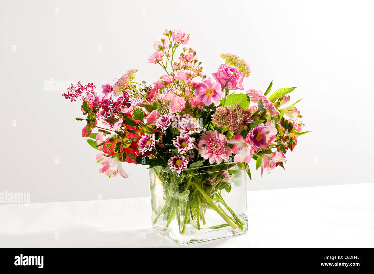 Pink Flower Bouquet On A White Background Stock Photo 38407502 Alamy