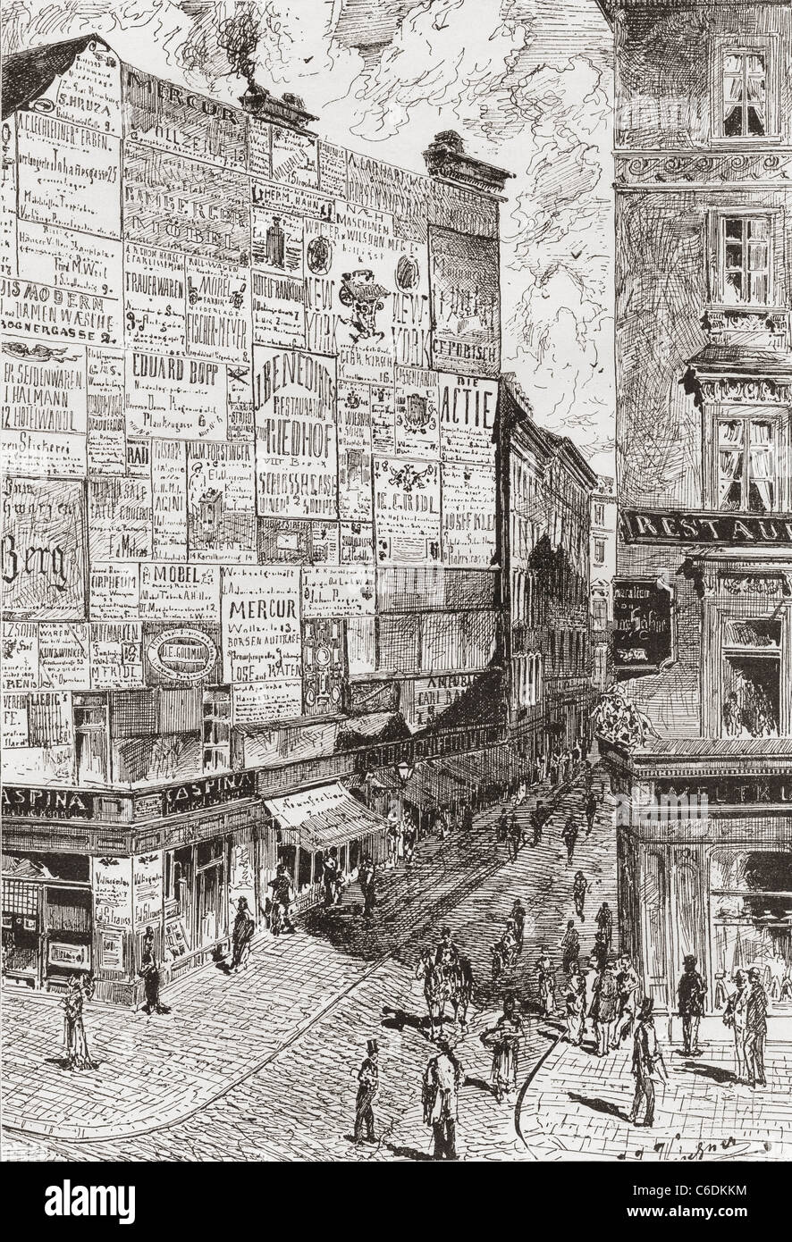 A wall of advertisements on a street in Vienna, Austria in the 19th century. - Stock Image
