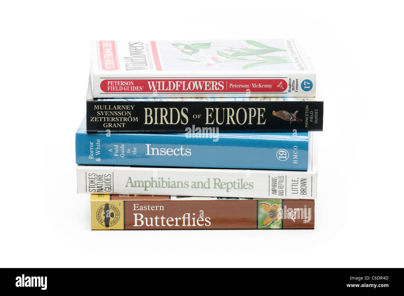 Books for identifying wildlife - Stock Image
