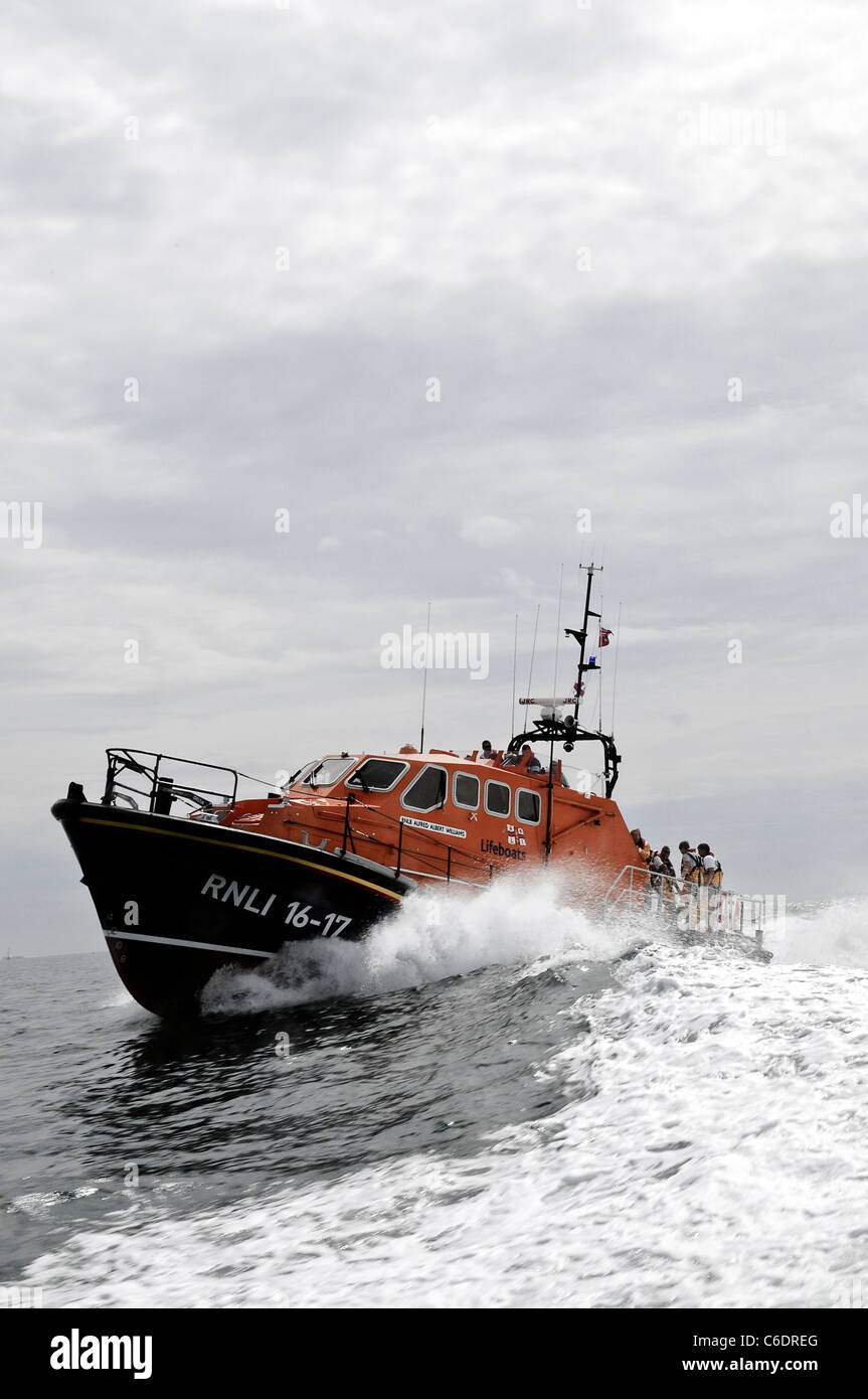 Bembridge Lifeboat on exercise in the Solent - Stock Image