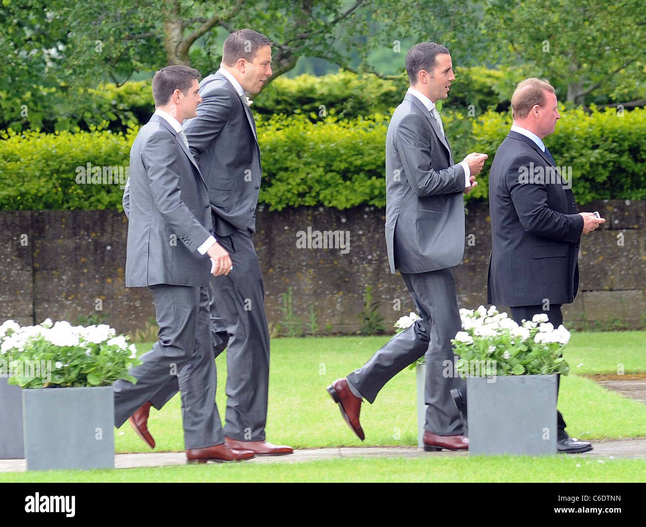 John O'Shea and friends attend his wedding at the Lady Chapel in Maynooth, County Kildare, Ireland - 08.06.10 - Stock Image
