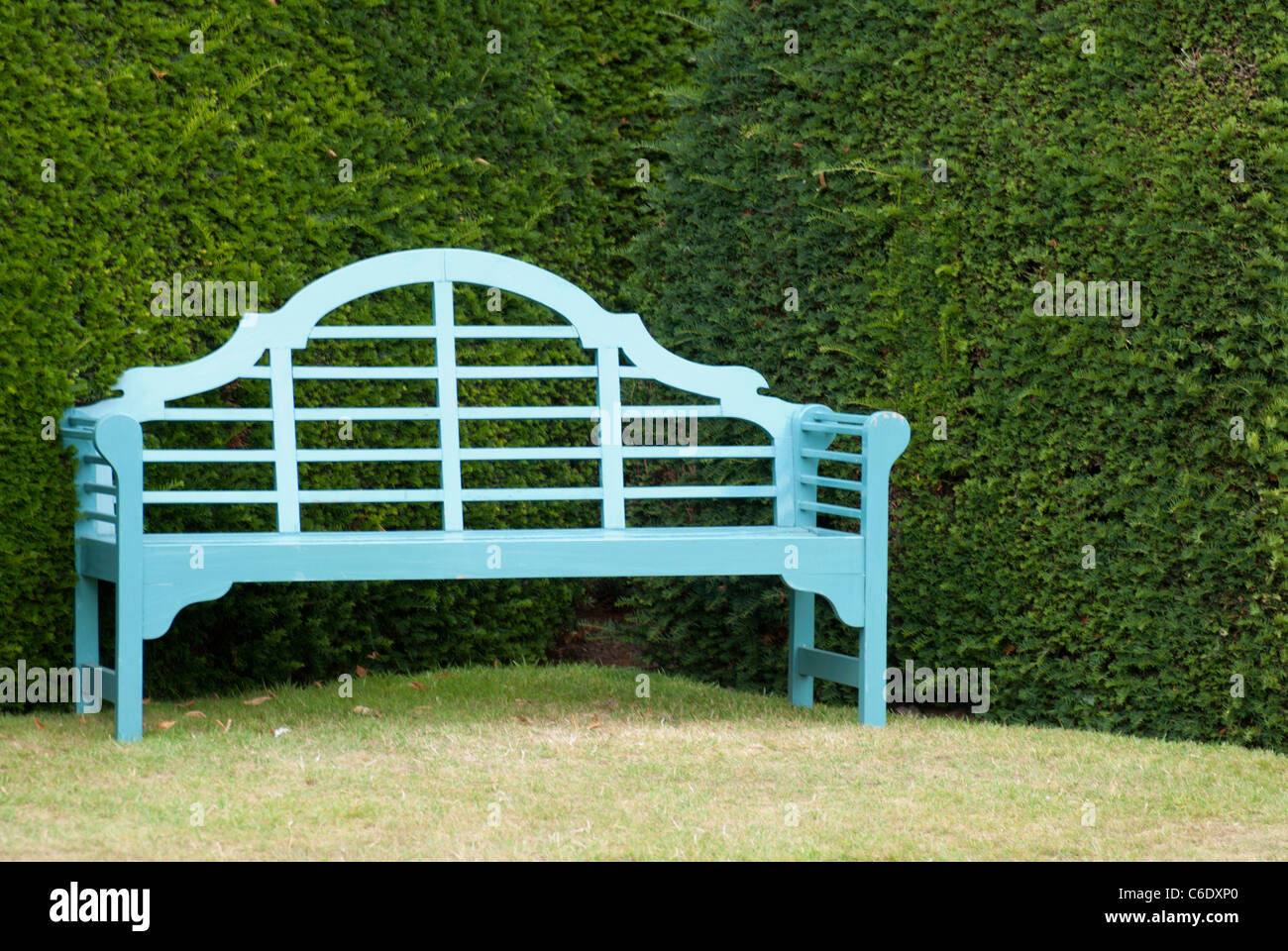 An old wooden bench nestling under a Yew hedge - Stock Image