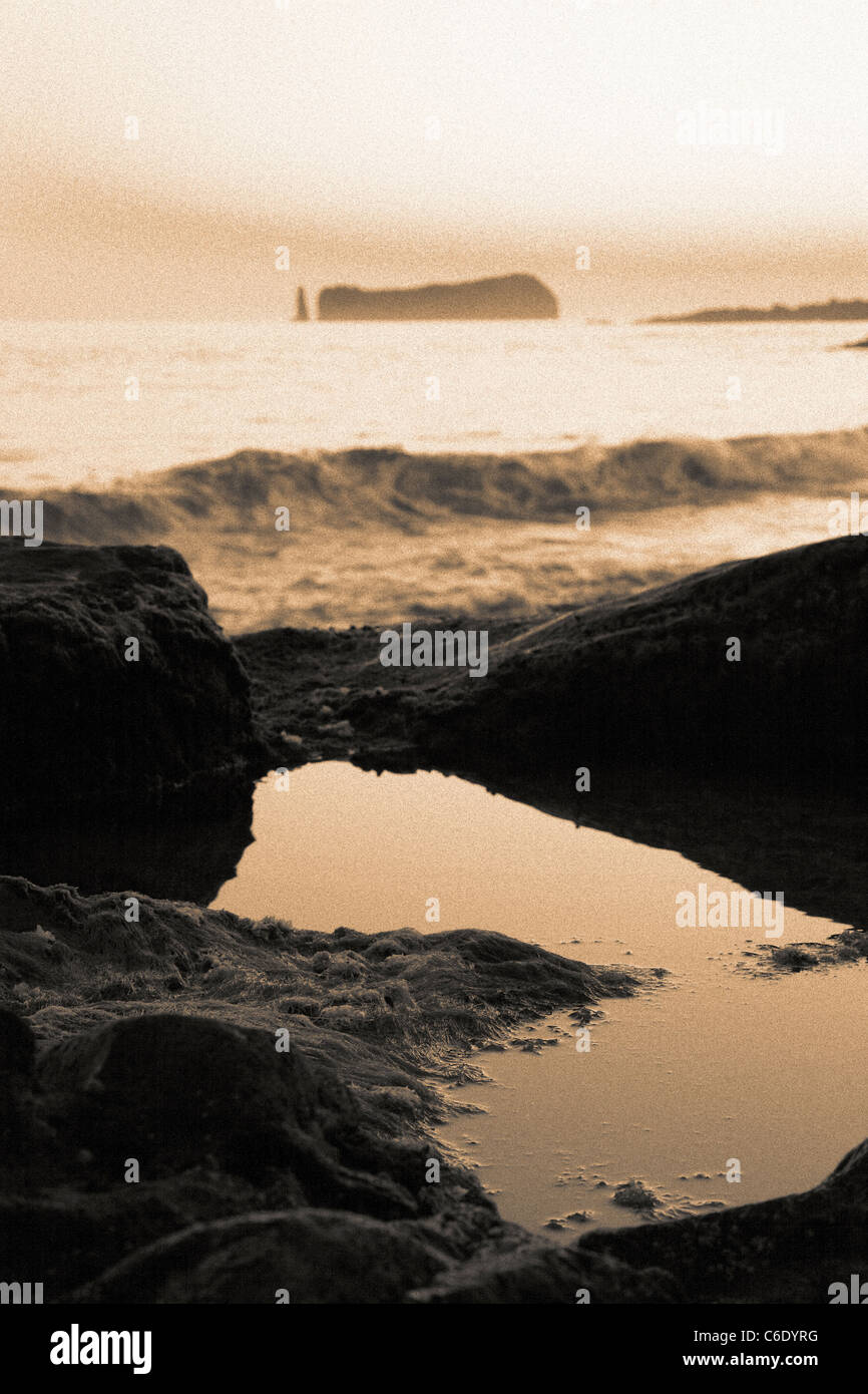Azores islands seascape in sepia tones, with the islet of Vila Franca do Campo on the background. - Stock Image