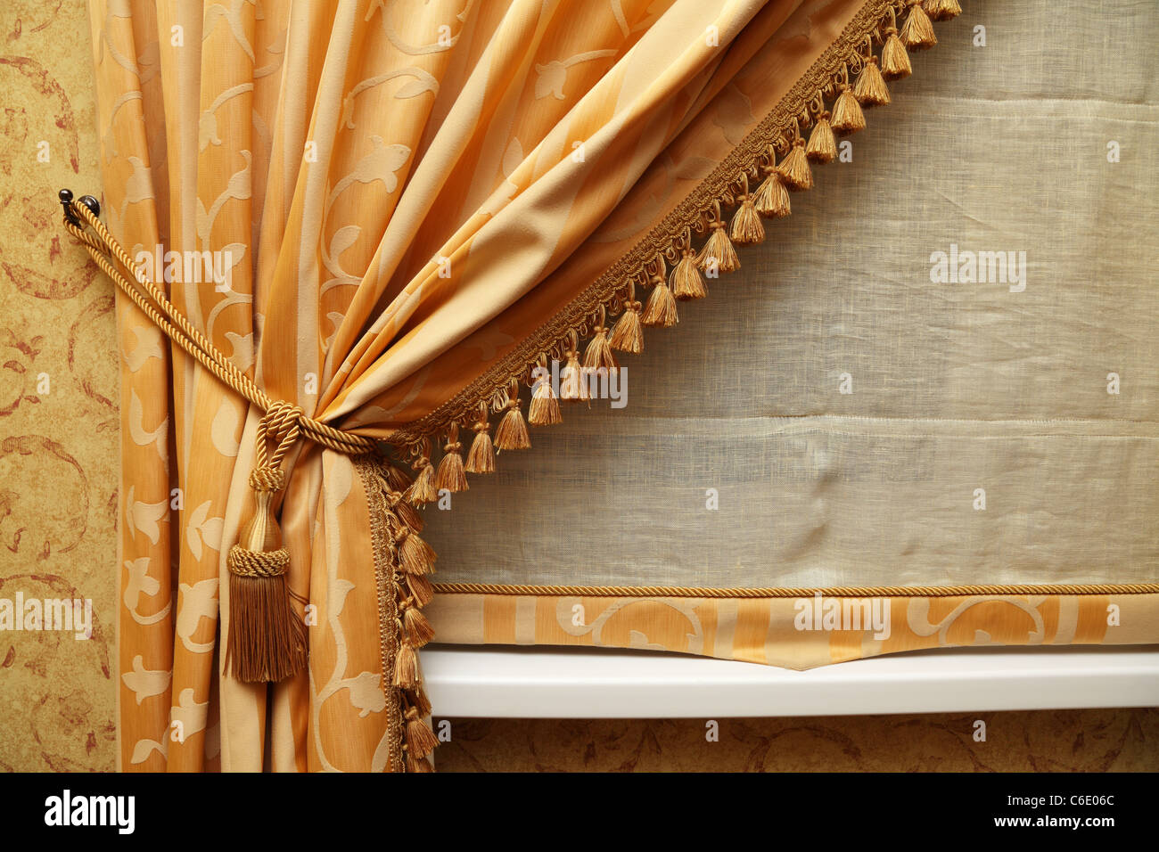 Fragment of a beautiful curtain - Stock Image
