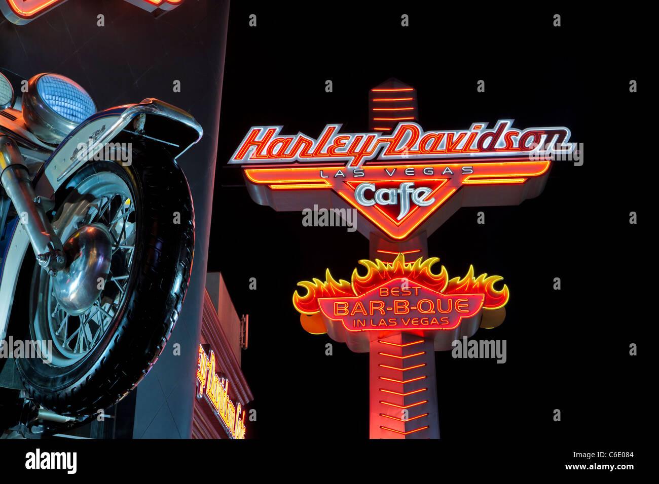 Harley Davidson cafe on Las Vegas Blvd. at night-Las Vegas, Nevada, USA. - Stock Image